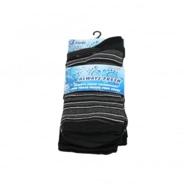 Mens Multi-Pack Soft Cotton Blend Dark Coloured Striped Diamond Socks