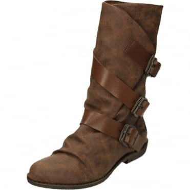 Alms Mid Calf Flat Buckle Boots