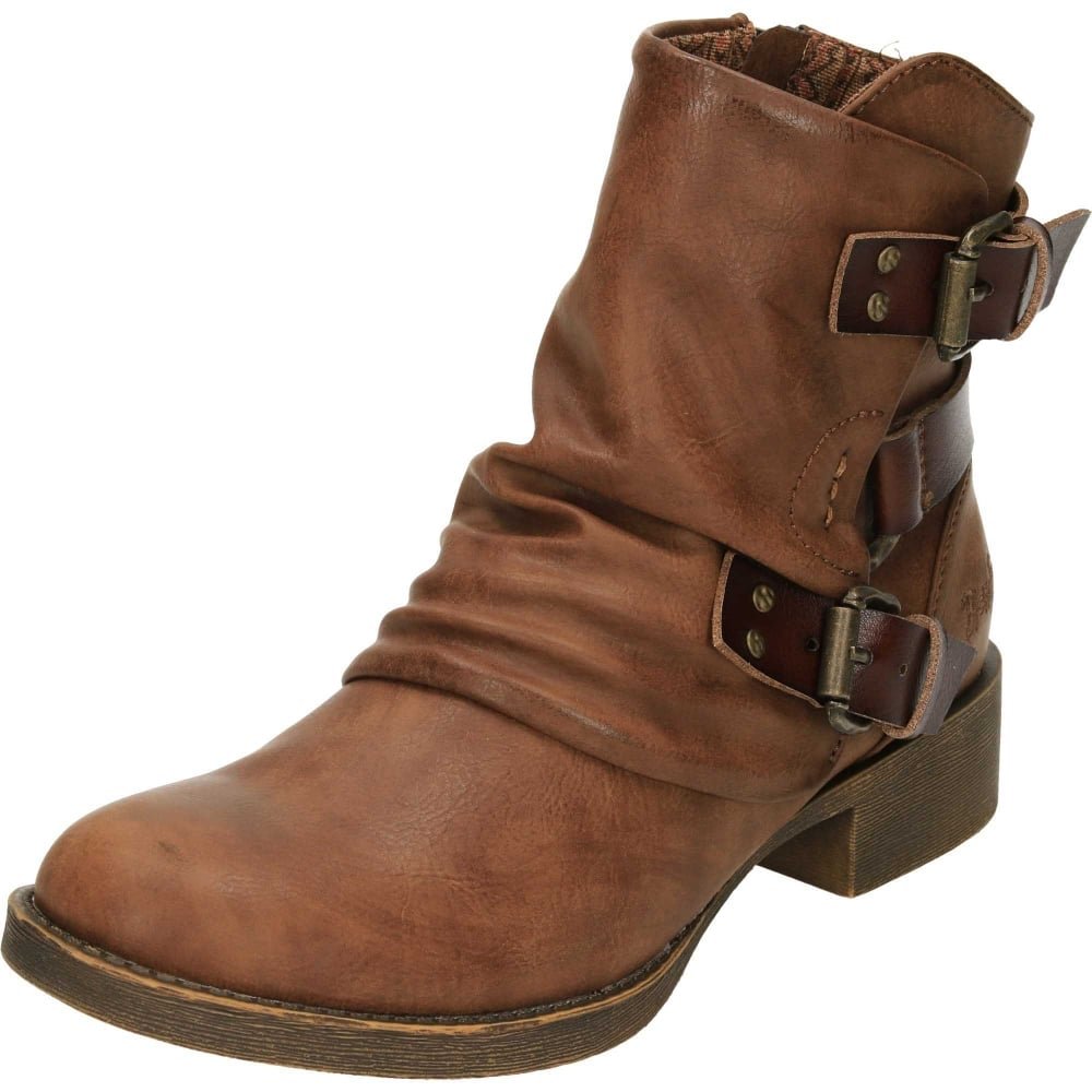 Blowfish Korrekt Flat Buckle Biker Boots Ladies Footwear From