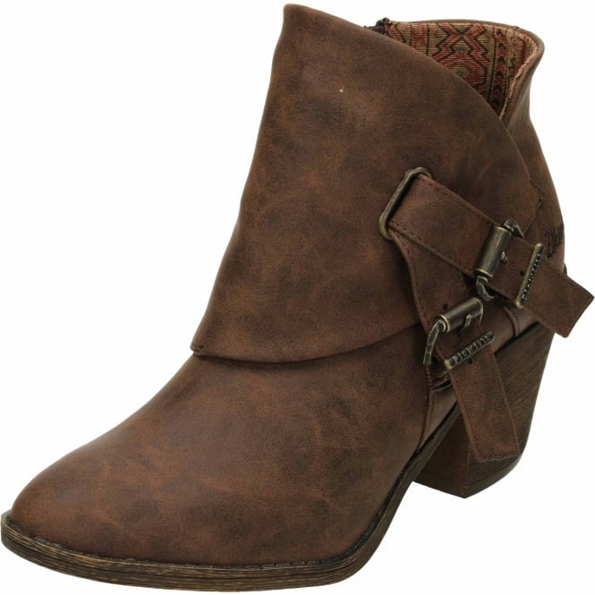 Blowfish Strum Heeled Ankle Cowboy Boots