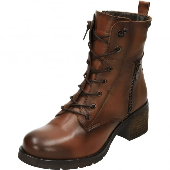 Carmela Leather Ankle Low Heeled Steampunk Boots