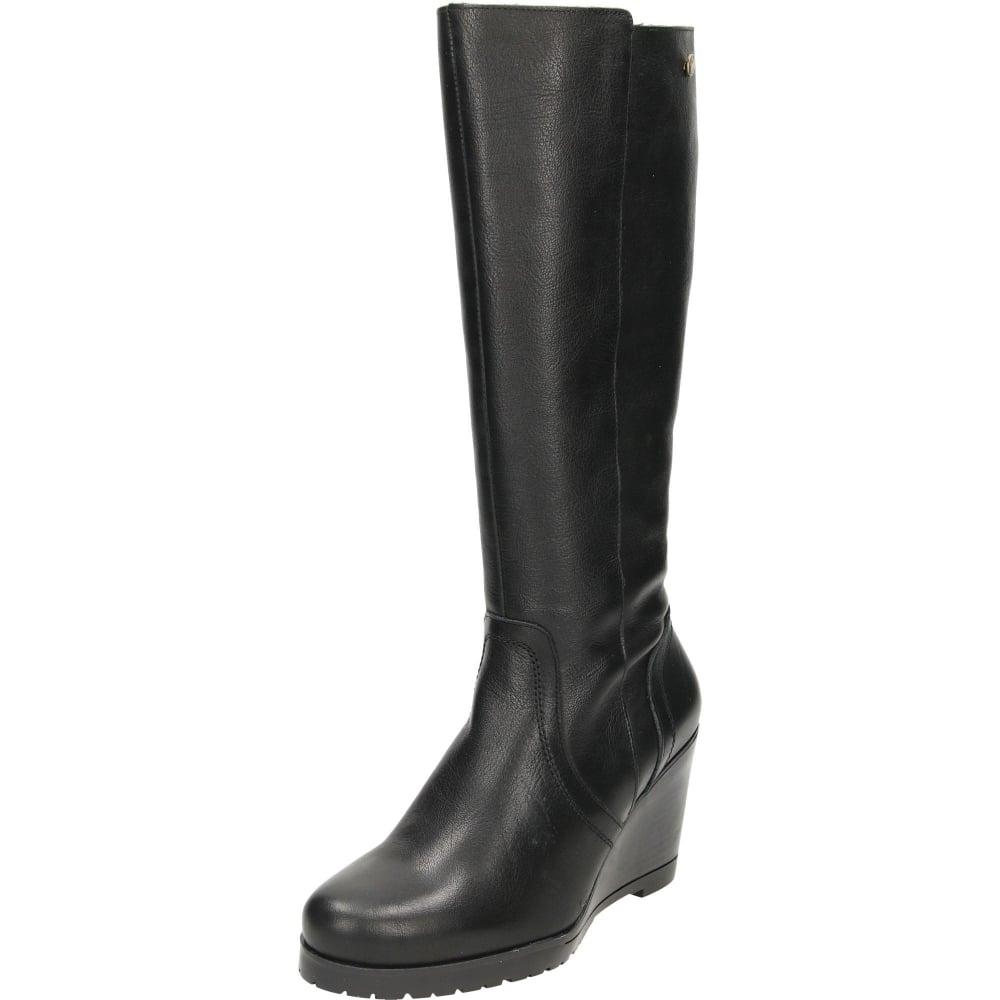 Carmela Leather Wedge Heeled Knee Boots Ladies Footwear From Jenny