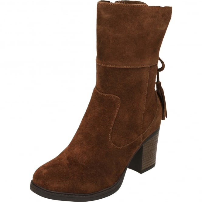 Carmela Suede Leather Ankle Calf Heeled Boots