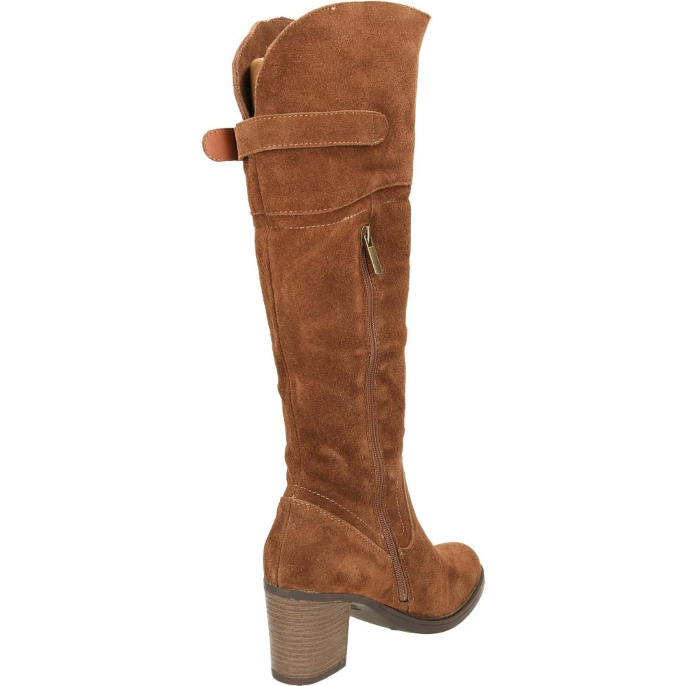 4711846e7361 Carmela Suede Leather Knee Block Heeled Boots - Ladies Footwear from ...