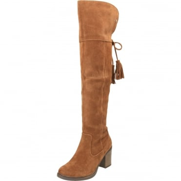 Suede Leather Tall Knee Heeled Boots