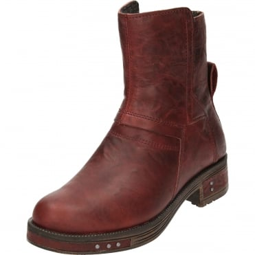Pixley Red Leather Flat Pull On Zip Ankle Boots