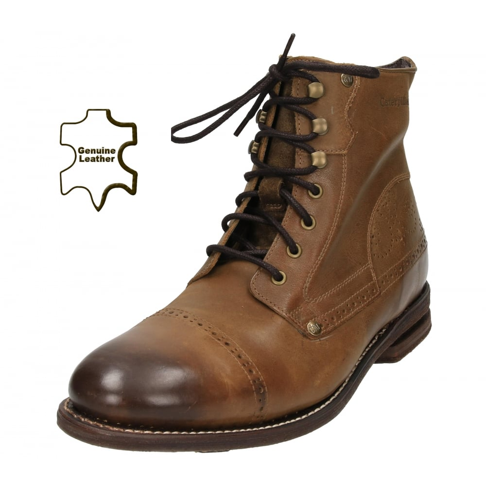 caterpillar real leather brown lace up brogue ankle