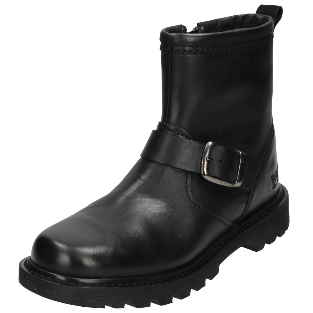 structural disablities various colors get online Caterpillar Utility Biker Ankle Boots Real Leather Zip Up