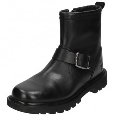 Utility Biker Ankle Boots Real Leather Zip Up