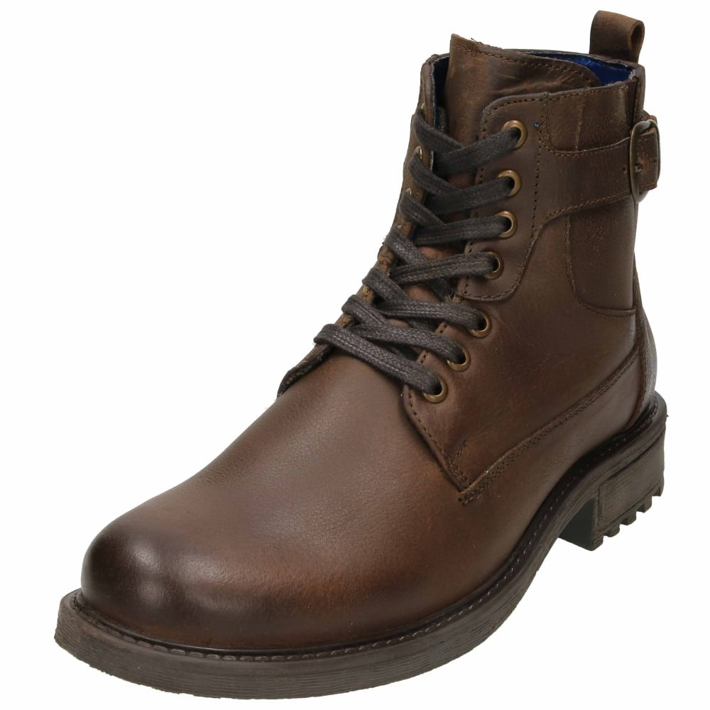 Mens Laced Leather Ankle Boots Dark Brown