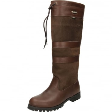 Chocolate Country Leather Knee High Boots Waterproof