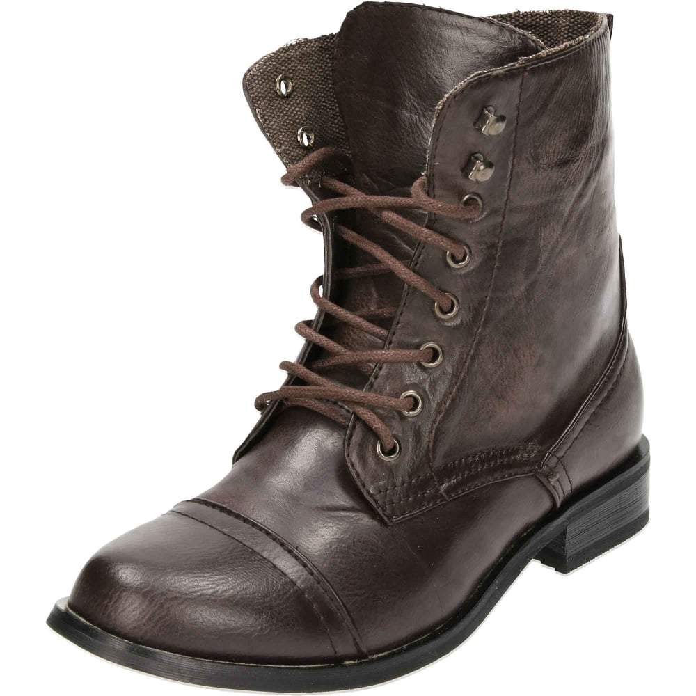 Zip Military Combat Ankle Boots Brown