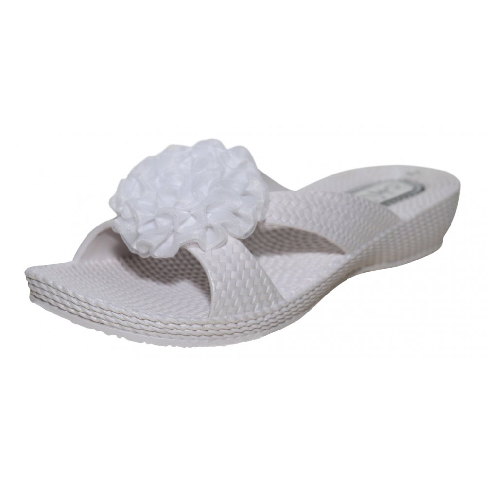 Chix Ladies White Flip Flops Beach Sandals Summer Flower Flat Wedge