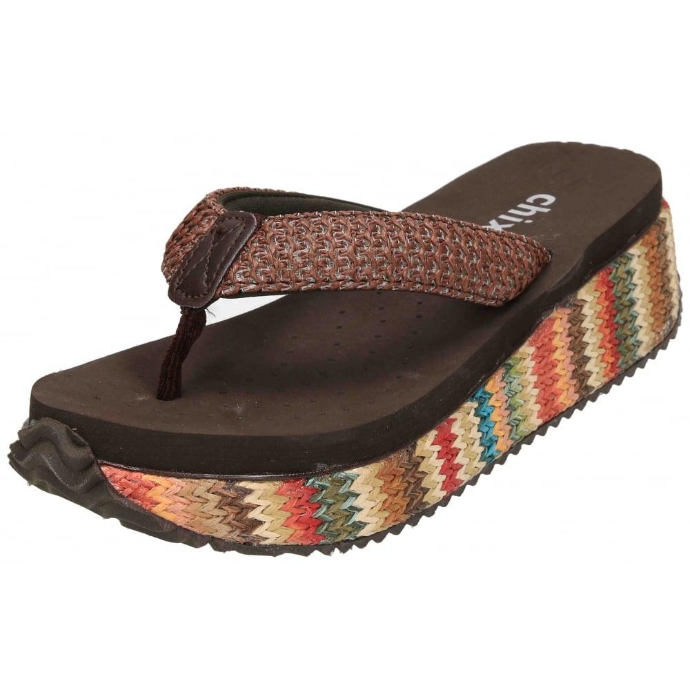 Chix Platform Wedge Heel Toe Post Sandals Flip Flops Espadrilles