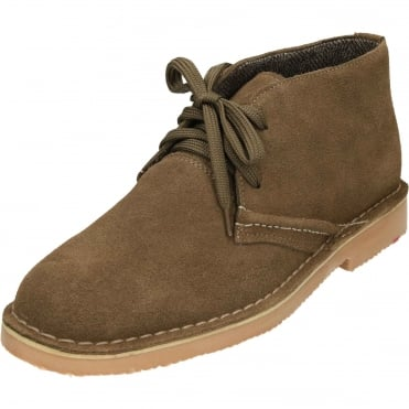 Lace Up Suede Leather Desert Boots Brown