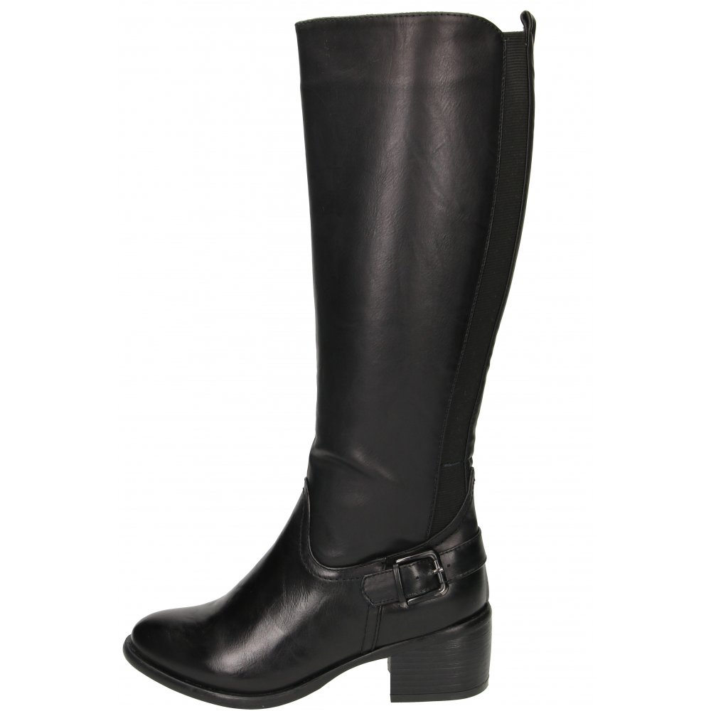 ghizzani stretchy boots knee high mid block heel