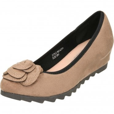 Wide Fit Concealed Wedge Suede Style Shoes
