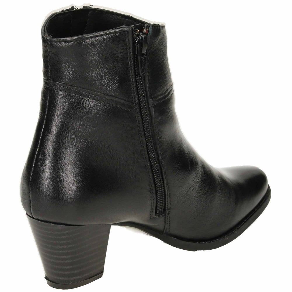 7a536f9fd51 Comfort Plus Wide Fitting Leather Block Heeled Ankle Boots - Ladies ...