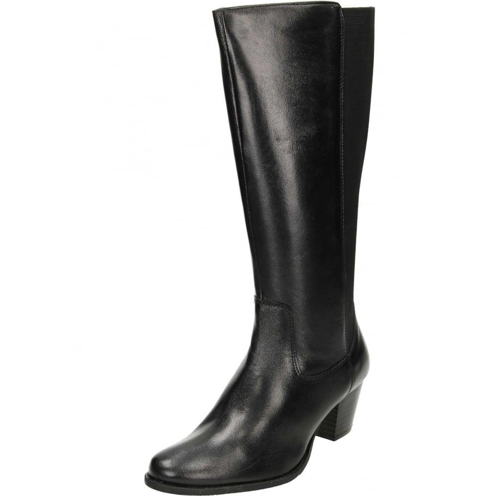 black leather wide leg long calf boot