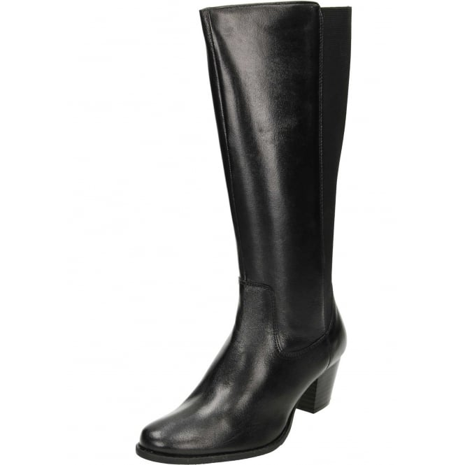 Comfort Plus Wide Fitting Stretchy Leather Block Heeled Boots
