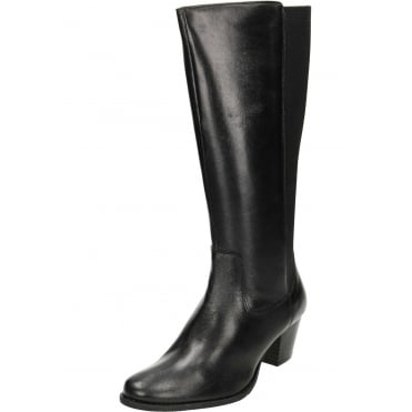 Wide Fitting Stretchy Leather Block Heeled Boots