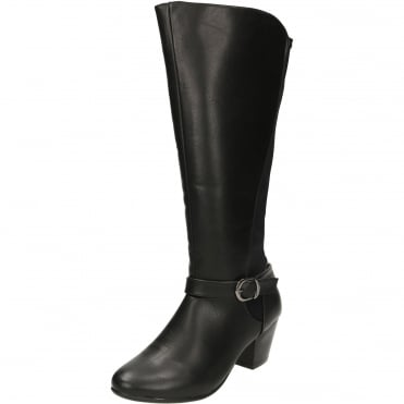 Wide Fitting Stretchy Lycra Block Heeled Boots