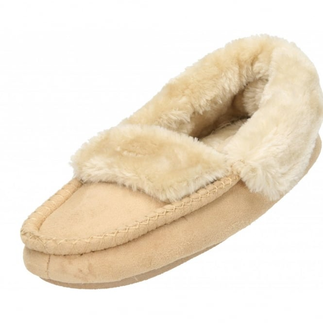 Cosies Faux Suede Fur Lined Moccasin Cosy Warm Slippers