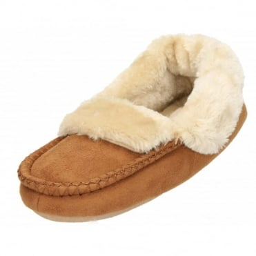Faux Suede Fur Lined Moccasin Cosy Warm Slippers