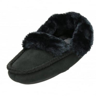 Faux Suede Warm Lined Moccasin Cosy Slippers