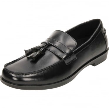 Bates Black Slip On Loafers Casual Formal Shoes