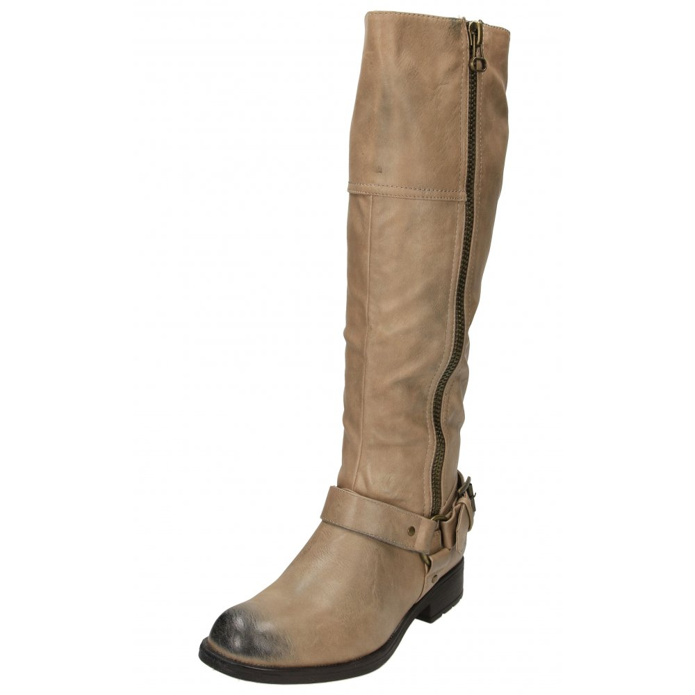 dolcis flat faux leather knee high buckle zip biker