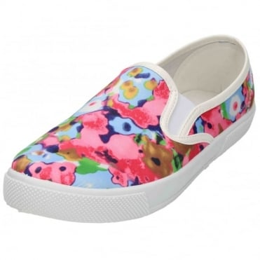 Floral Pull On Elasticated Pumps Plimsolls Flat Loafers