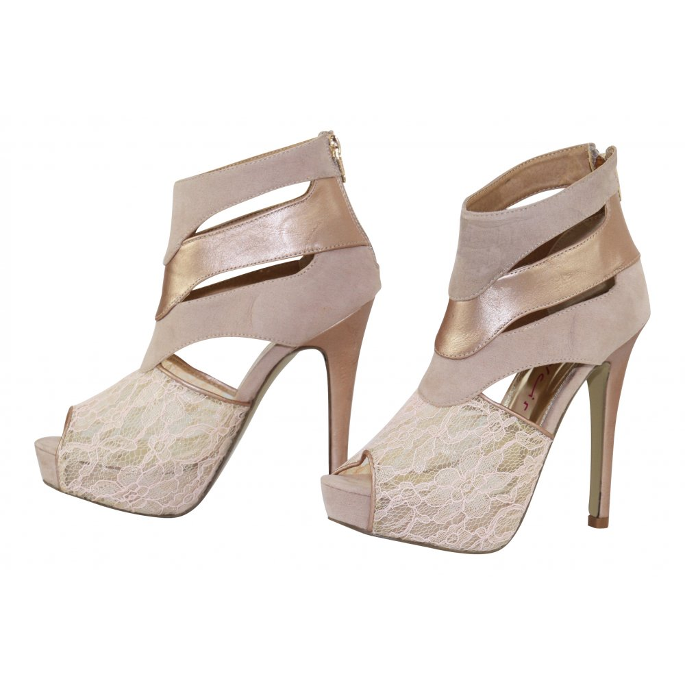 dolcis lace cut out stiletto high heel platform ankle