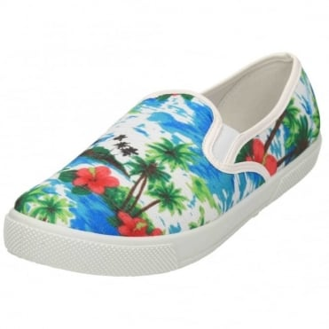 Tropical Pull On Elasticated Pumps Plimsolls Flat Loafers