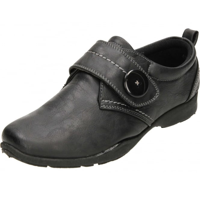 Dr Keller Black Flat Rip Tape Casual Comfort Shoes