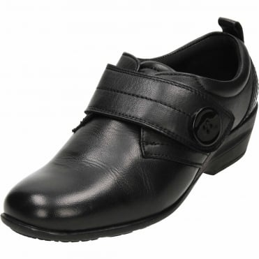 Black Leather Smart Comfy Shoes