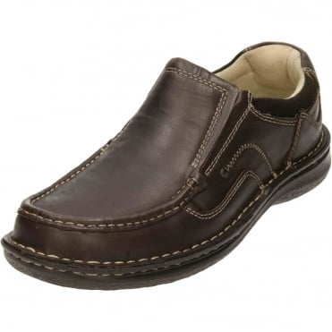 Brown Leather Slip On Loafer Shoes