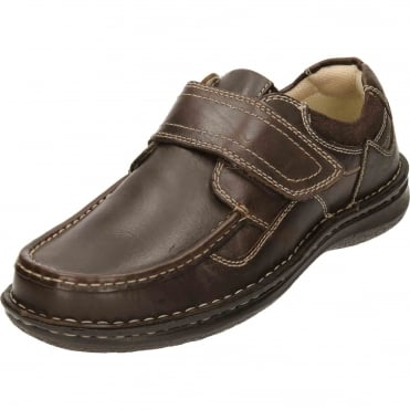 Brown Leather Touch Fastening Loafer Shoes