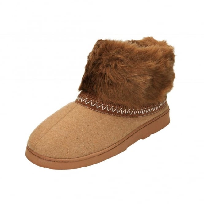 Dr Keller Brown Warm Lined Slipper Ankle Boots