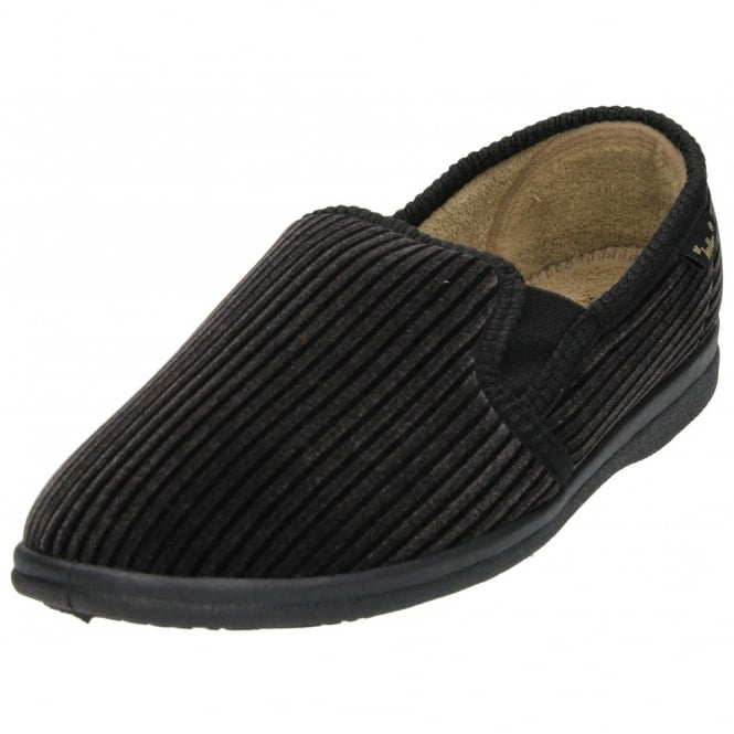 Dr Keller Cord Cosy Slippers Shoes Twin Elastic Gusset