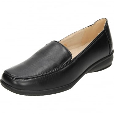Flat Slip On Leather Lined Lightweight Comfy Shoes Black