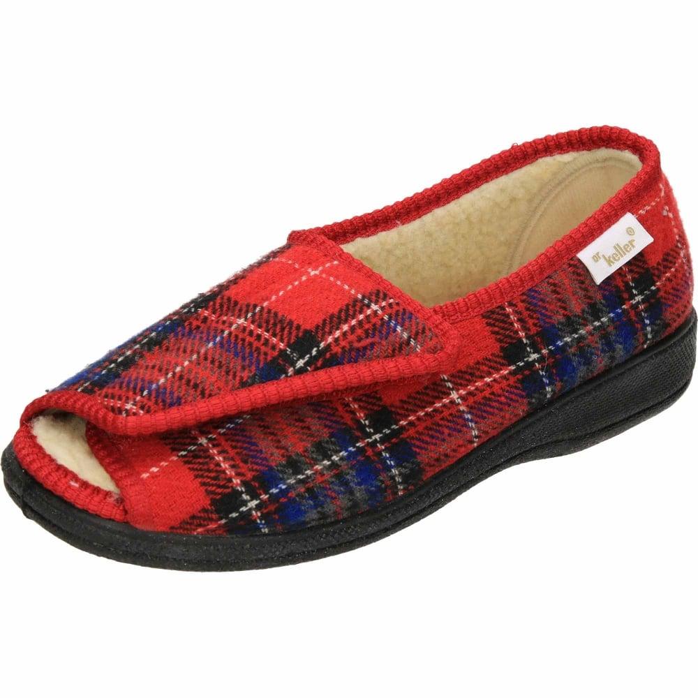 e849ba895c2 Dr Keller Ladies hook   loop Open Toe Warm Lined Slippers - Ladies Footwear  from Jenny-Wren Footwear UK