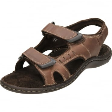 Leather Touch Fastening Open Toe Sandals Brown