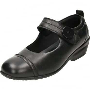 Mary Jane Black Leather Shoes