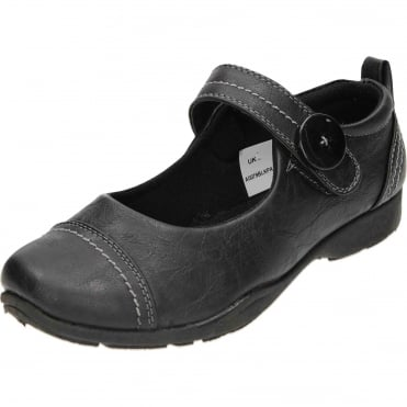 Mary Jane Casual Black Flat Rip Tape Loafer Shoes