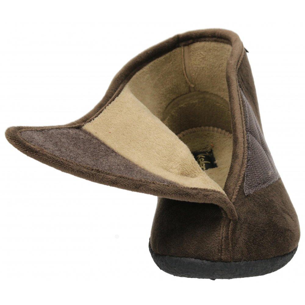 Black Memory Foam Insole Velcro Fleece Cosy Slippers Boots Shoes