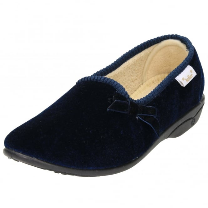 Dr Keller Slippers Shoes Cosy Warm Fleecy Lined With Bow Solid Heel