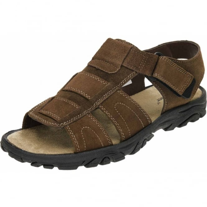 Dr Keller Suede Leather Gladiator Touch Fastening Sandals Brown