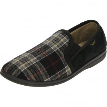 Warm Lined Check Twin Gusset Slippers