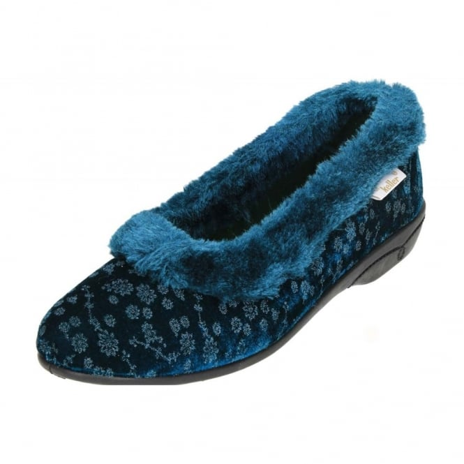 Dr Keller Warm Lined Collar Floral Slippers House Shoes